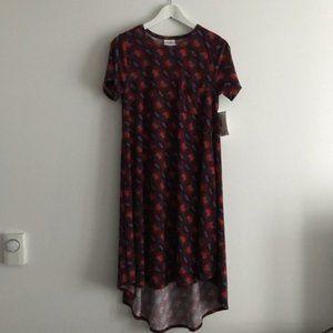 NWT Lularoe Carly Dress rocket print high low